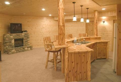 Custom Cedar Log Bar | Rustic Furniture Mall by Timber Creek