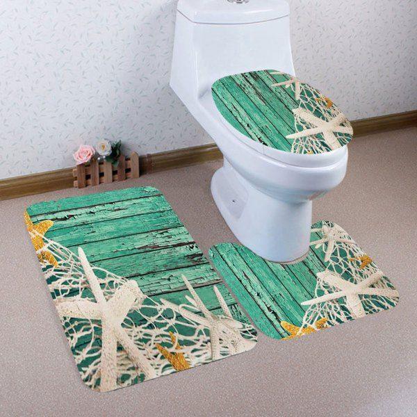 Fishing Net Wood Printed 3Pcs Bathroom Mats Set - Green  Mobile