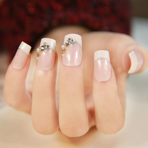Wholesale-(24pcs/set) Senior finished with a bridal nail patch fashion fake nails French manicure