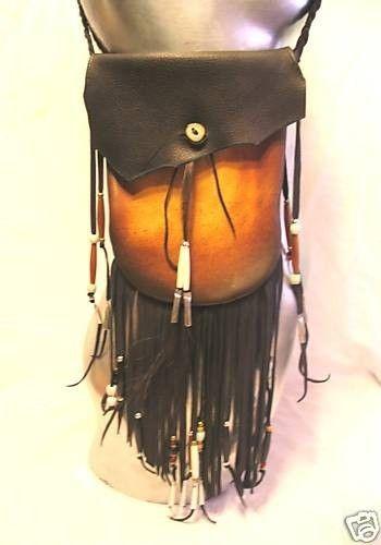 Leather Medicine Bag Fringed Black Deerskin Crossover by dleather, $129.95