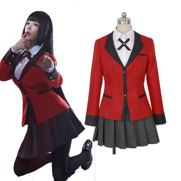 New Anime Kakegurui Jabami Yumeko Cosplay Costumes JK Girls Student School Uniform Outfits Set jacket+shirt+skirt+ties+stockings #SchoolOutfits