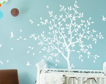 Large tree decal set with beetles and snails corner wall