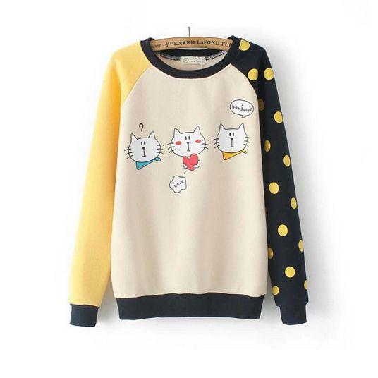 Cute sweatshirts stylish lovely cats pattern tops BD-X5993
