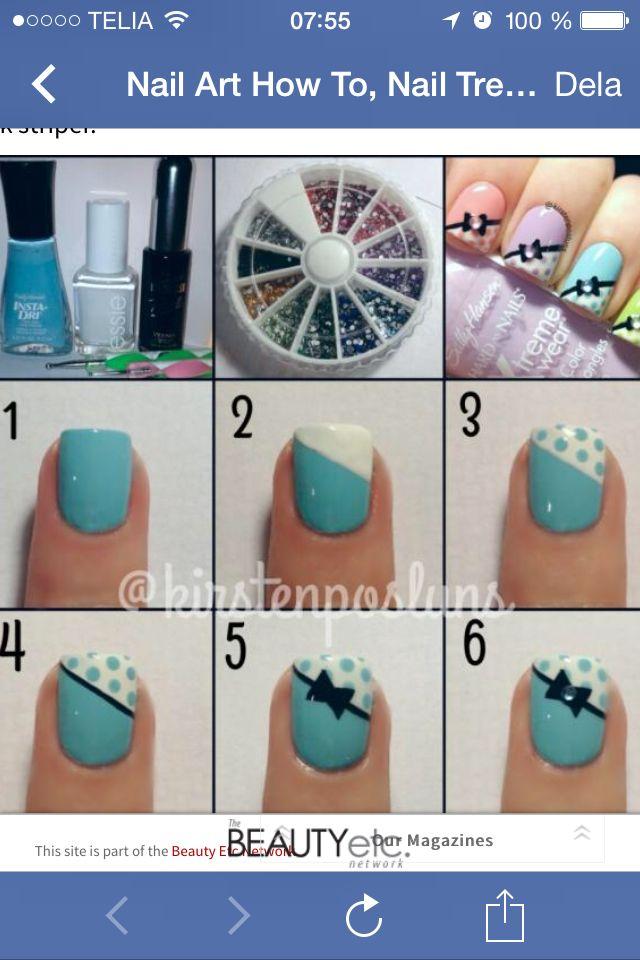 Hur man gör söta rosett naglar steg för steg