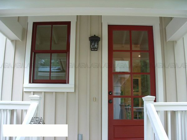 Mushroom Siding With Cream Trim And Barn Red Windows
