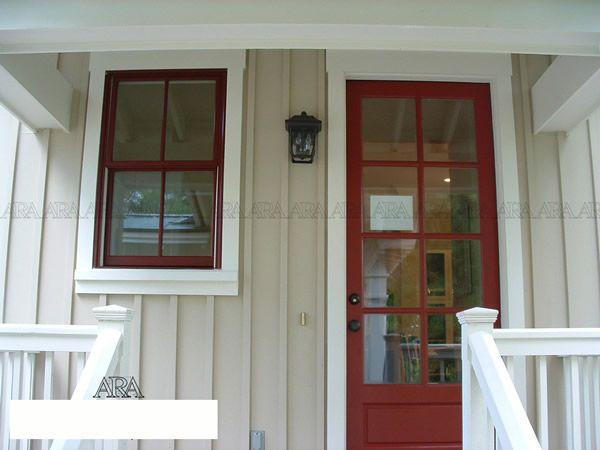 Mushroom siding with cream trim and barn red windows ...