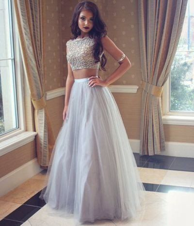 Grey Two Pieces Prom Dresses,Simple Tulle Long Evening Gowns A line Prom Dresses Evening Prom Dress Beading Party Gown For Teens