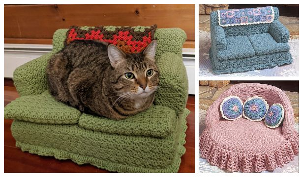 Kitty Couch Bed Crochet Patterns Diy Magazine In 2020 Knitted Cat Cat Couch Couch Pet Bed