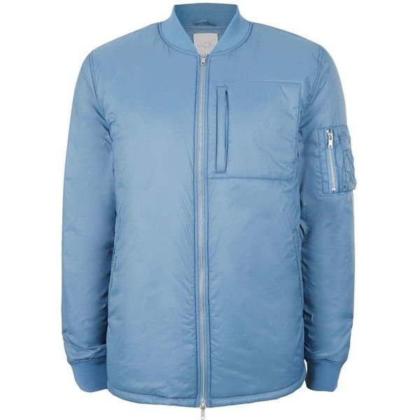 TOPMAN Ltd Blue Lightweight Puffer Bomber Jacket ($80) ❤ liked on Polyvore featuring men's fashion, men's clothing, men's outerwear, men's jackets, blue, mens light weight jackets, mens blue bomber jacket, mens puffy jacket, mens lightweight jacket and mens lightweight bomber jacket