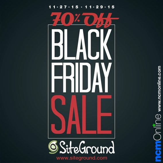 SiteGround is offering new customers huge discounts during their 3-day Black Friday Sale. That means for limited time only, web hosting plans will be starting at only $2.95 per month! Receive up to 70% off new hosting plans on Friday, 11/27/15; Saturday 11/28; and Sunday, 11/29/15 only.