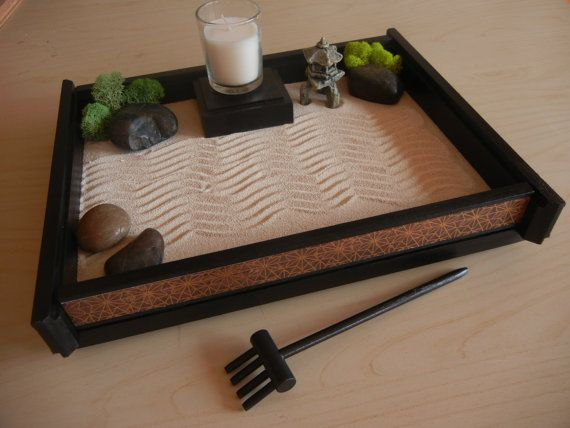 M 05 Medium Desk Or Table Top Zen Garden With DECO Print And Candle
