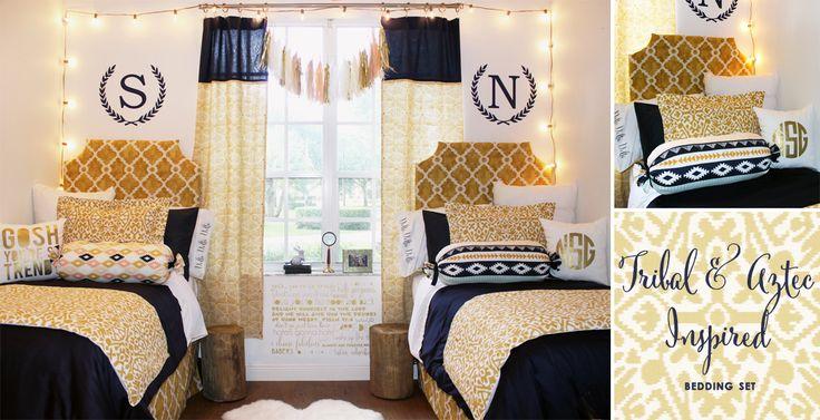 monogrammed custom dorm room bedding coordinated dorm room looks gold tribal dorm