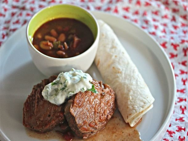 Slow Cooker Mexican Beef With Lime Crema and Pinto Beans - http://recipes.thatarerightforme.com/recipes/slow-cooker-mexican-beef-with-lime-crema-and-pinto-beans