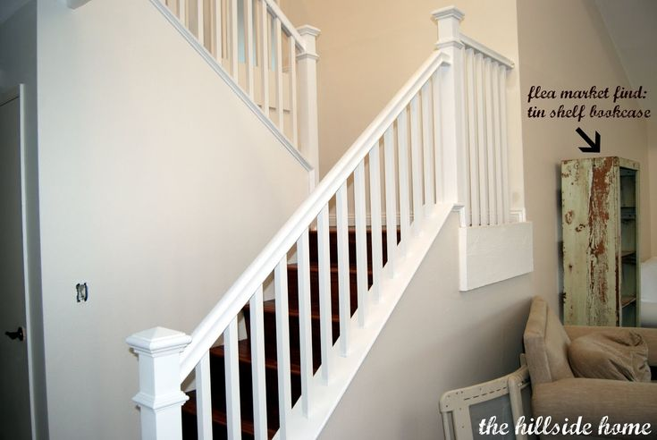 How to trim the spindles?? white staircase | Remodelaholic | Brand New Stair Banister, Home Remodel