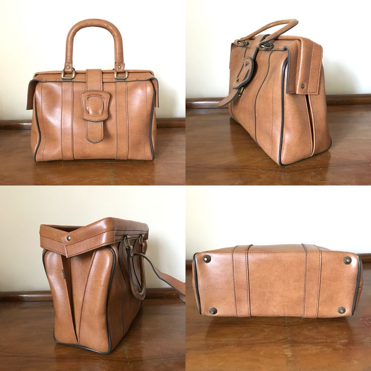Vintage 1960s Leather Doctor Style Handbag.