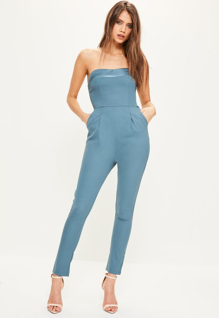 Missguided - Blue Satin Panel Bandeau Jumpsuit