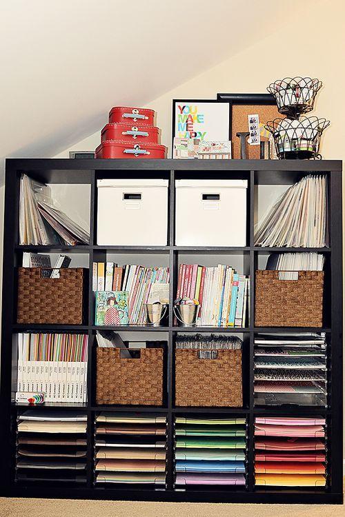Ikea Expedit used to full advantage.: Craft Room Paper Storage, Bedroom Bedroom, Craft Paper Storage Ideas, Ikea Expedit, Ced1 Bedroom, Paper Trays, Storage Craftroom, Craft Room Storage Ideas, Craft Rooms