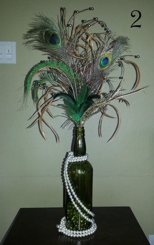 pearls and peacock feathers for decorations--minus the beer bottle holder. that's janky.