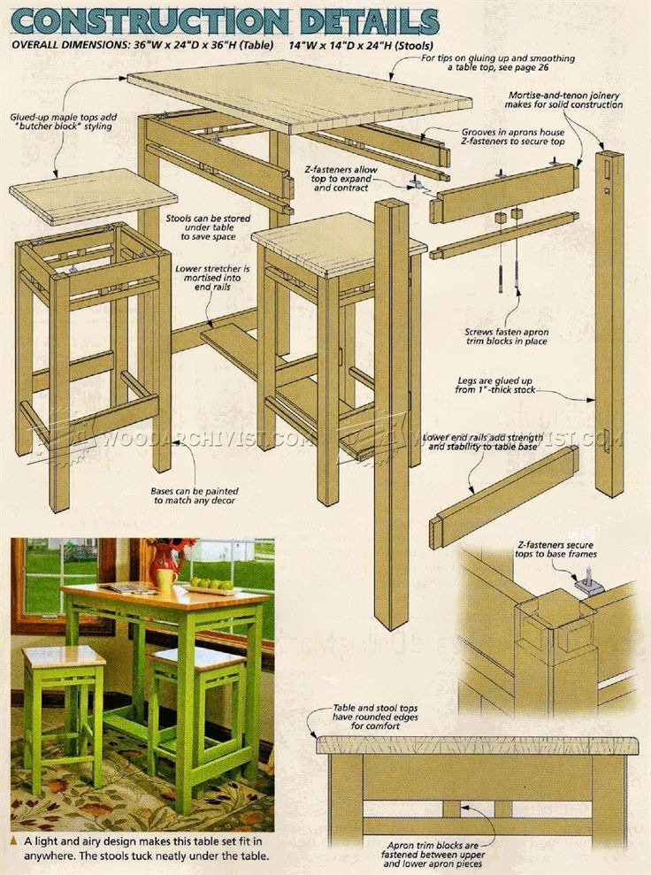 #3078 Tall Kitchen Table Plans - Furniture Plans