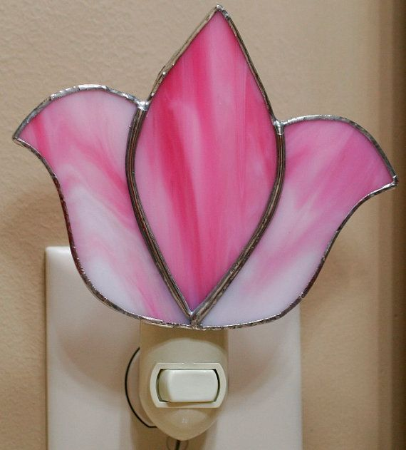 PINK Tulip Night Light   Stained Glass by StainedGlassDanaLin on Etsy, $20.00