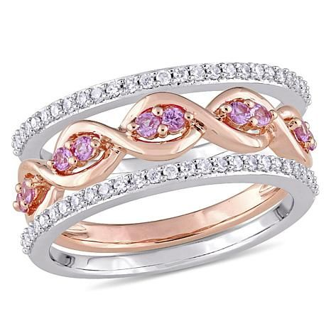 Shop 14K 2-Tone Gold 0.57ctw Diamond and Pink Sapphire 3-piece Ring Set 8488518, read customer reviews and more at HSN.com.
