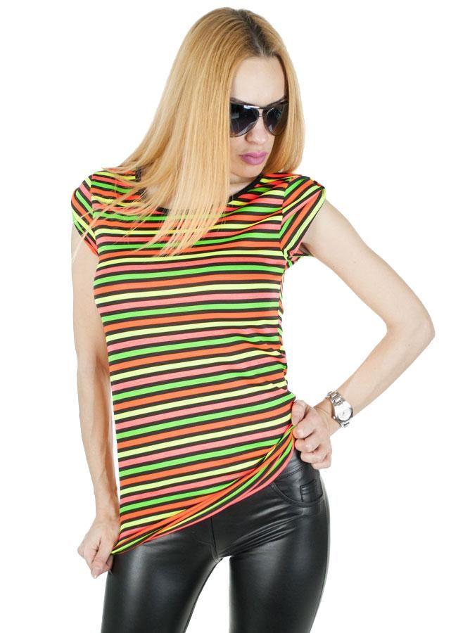 Tricou Dama Color Summer  -Tricou dama  -Dungi orinzontale colorate  -Croi lejer     Lungime: 66cm  Latime talie: 36cm  Compozitie: 95%Vascoza, 5%Elasten