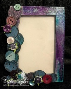 """""""The Frame With One Pink Button"""" by Erika Taylor: Pink Buttons, Buttons Crafts, Decoupage Idea, Buttons Art, Buttons Frames, Altered Items, Pictures Frames, Buttons Pictures, Decoupage Frames"""