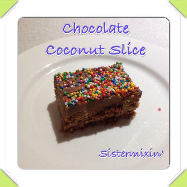5 second choc coconut slice