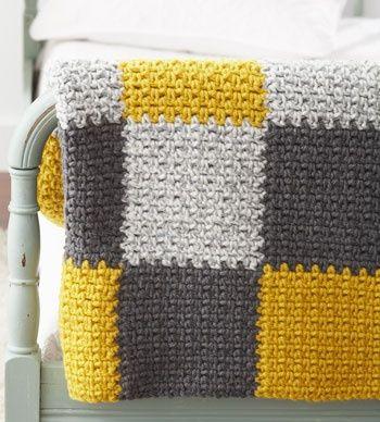 Bernat: Pattern Detail - Softee Chunky - Patchwork Blanket (crochet).