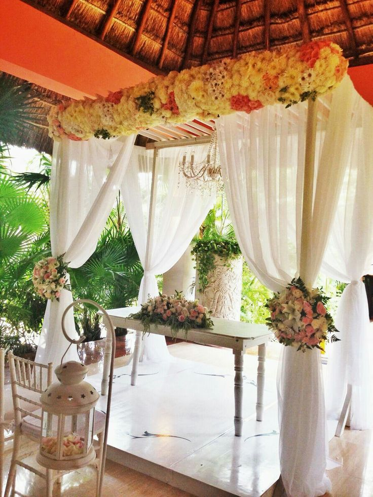 White Chic, #Flowers #Curtains #Gazebo #chandelier