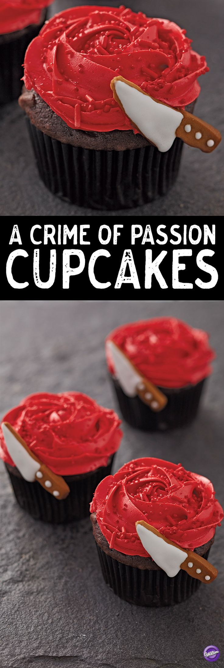 Whether it's a murder mystery party, a Halloween gathering or a scary movie marathon, these Crime of Passion Cupcakes are a quick and easy dessert idea for beginning bakers. A simple rosette turns these cupcakes into blooming red roses…but these beauties have a secret to hide! Finish each cupcake with a Knife Icing Decoration to add a sinister touch to your treats!