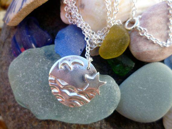 Silver 'seaside' pendant  sea waves seagull by SilverWrenandOak