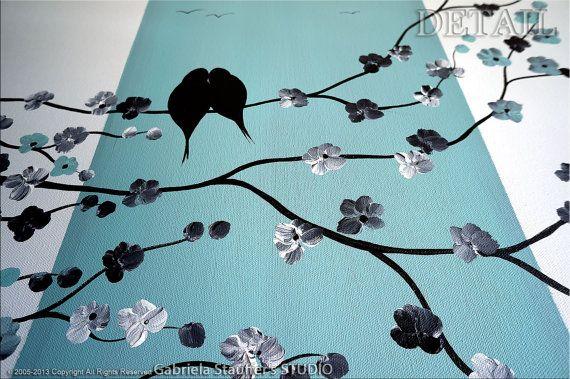 Peinture oiseaux abstraite peinture peinture par GabrielaStauffer