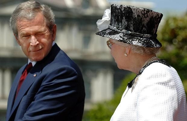 George W Bush winks as he and the Queen deliver speeches at the White House on 7 May 2007