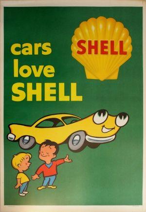 Cars Love Shell Oil, 1960 - original vintage poster listed on AntikBar.co.uk
