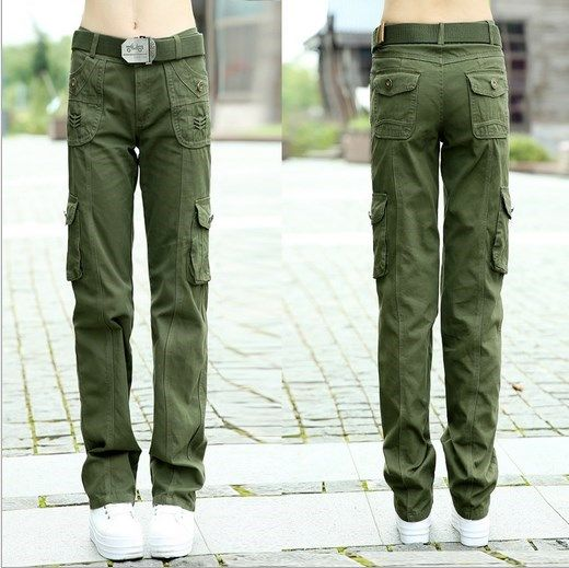 Women Army Green Cargo Pants With Pockets Pantalon Femme Autumn Winter Sport Trousers Women #Affiliate