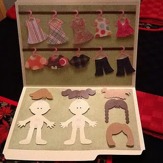 Paper doll sets. I love this idea for road trips, camping & rainy days!! Would also be a cute homemade gift ... use Paper Doll dress up for cute boy ideas! Oh the ideas! Use My Story to laminate & use pcs. of velcro to attach clothes instead of the little tabs