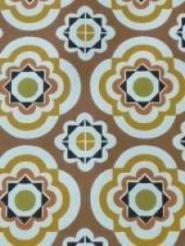 groen geel bruine bloemen in een geometrisch patroon