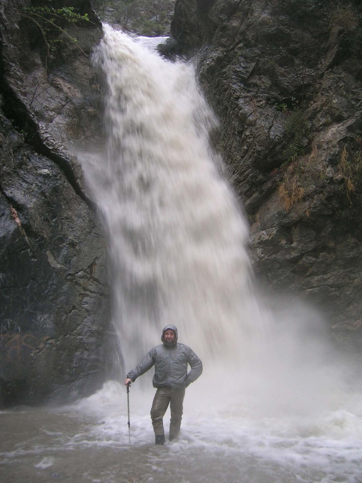 Testing wading gear under waterfall
