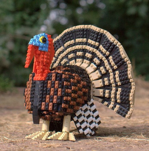 Turkey centerpiece made with Legos.     http://www.apartmenttherapy.com/categories/furniture_accessories?page=4