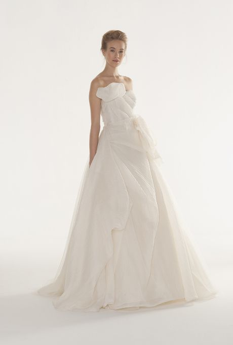"Peter Langner - Fall 2013. ""Joy"" strapless pleated organza ball gown wedding dress with folds at the right shoulder, Peter Langner"
