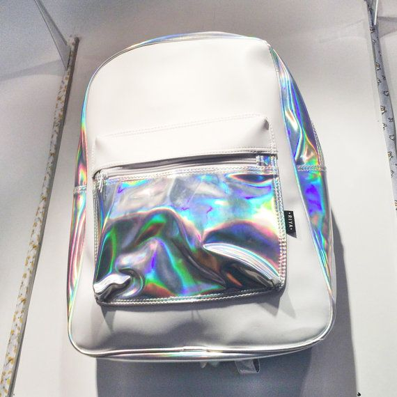 Holographic White Leather Backpack Silver by pingypearshop on Etsy