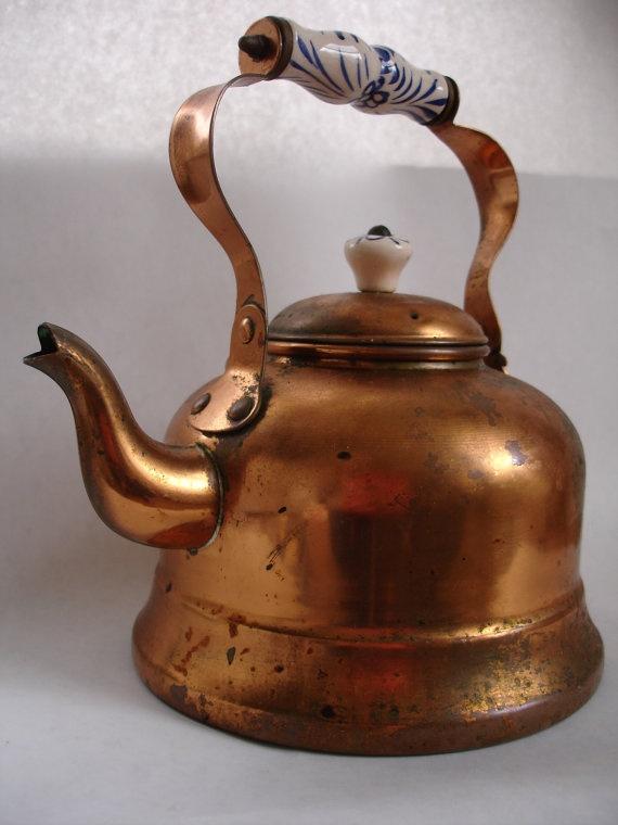Vintage copper kettle.