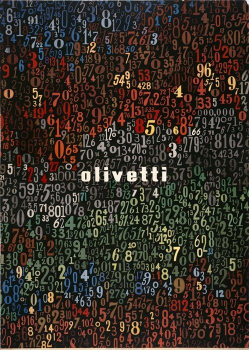 giovanni pintor, olivetti poster, 1949. Ollivetti's products are suggested by a melange of numbers.