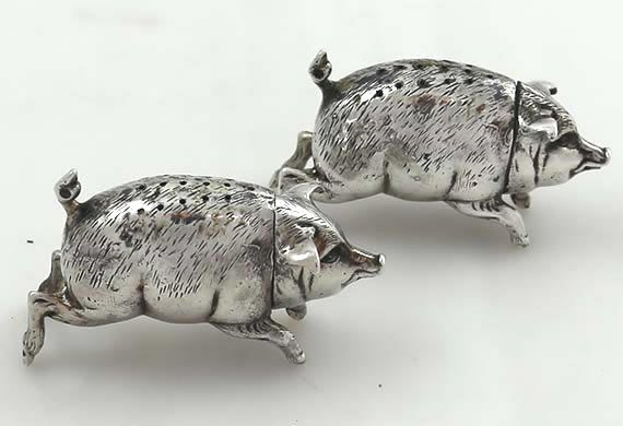 Pair antique German 800  pair figural pig salt and pepper