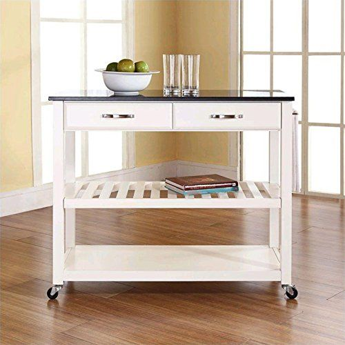 Special Offers - Crosley Furniture Solid Black Granite Top Kitchen Cart/Island with Optional Stool Storage in White Finish - In stock & Free Shipping. You can save more money! Check It (March 24 2016 at 12:05PM) >> http://storagebenchusa.net/crosley-furniture-solid-black-granite-top-kitchen-cartisland-with-optional-stool-storage-in-white-finish/