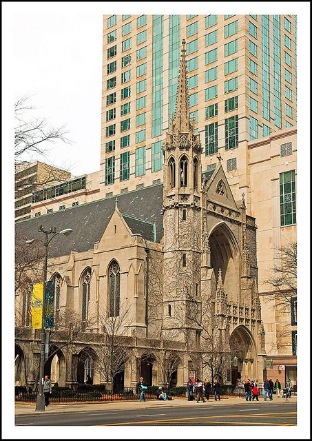 Fourth Presbyterian Church is in Chicago's Gold Coast neighborhood on N. Michigan Avenue. USA. The congregation dedicated its first home (the refurbished former North Presbyterian Church) on Sunday, October 8, 1871. A few hours later, the church was destroyed in the Great Chicago Fire. A second church home was dedicated in February, 1874.