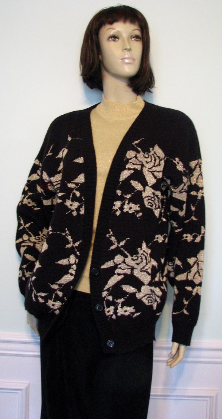 Vintage Cardigan Made in USA Gold Roses Black Sweater Adele Knitwear by GracefulVtgClothing on Etsy https://www.etsy.com/listing/483314086/vintage-cardigan-made-in-usa-gold-roses