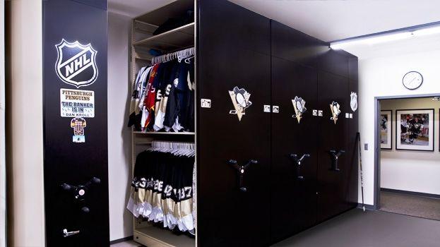 Hockey, NHL, Ice Hockey, Equipment, Supply, Mobile, Shelving, Storage, Shelves, Shelf, Powered, Movable, Hockey Equipment Mobile Shelving Storage, Hockey Storage