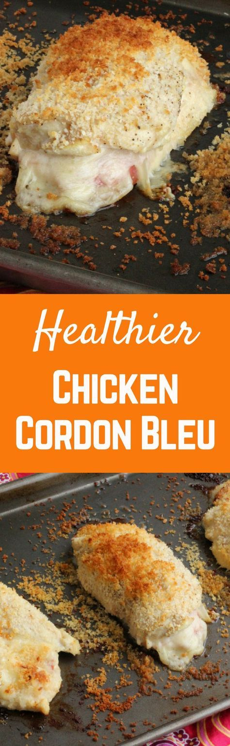 This healthier Chicken Cordon Bleu tastes just as great as the fried version -- maybe better! Get the healthy recipe on http://RachelCooks.com!